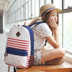 日韩学院风帆布双肩包女初中学生校园大容量书包韩国简约电脑背包