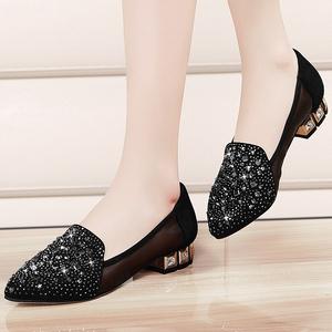 2017新款夏季女士网纱透气凉鞋女韩版水钻百搭黑色低跟女鞋妈妈鞋