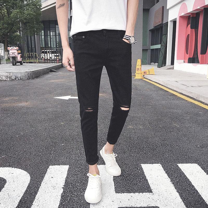 一字破洞牛仔裤男士黑色修身夏季薄款韩版小脚九分裤乞丐裤子 9分
