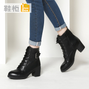 Korean fashion shoes shoe shoebox2015 winter tide head thick with side zip boot 1115607245
