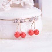 Temperament good Japanese and Korean fashion jewelry rhinestones earrings cherry Stud Earrings ear acupuncture female Korean small fresh earrings