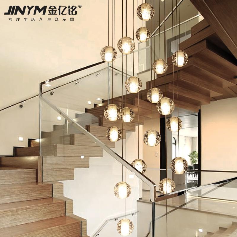 水晶球楼梯灯冰雹创意个性现代LED餐厅客厅流星雨复式楼梯间吊灯