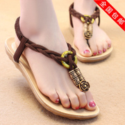 2015 summer styles retro solid toe flat Roman elastic beaded Sandals flat heel women's shoes bags-mail