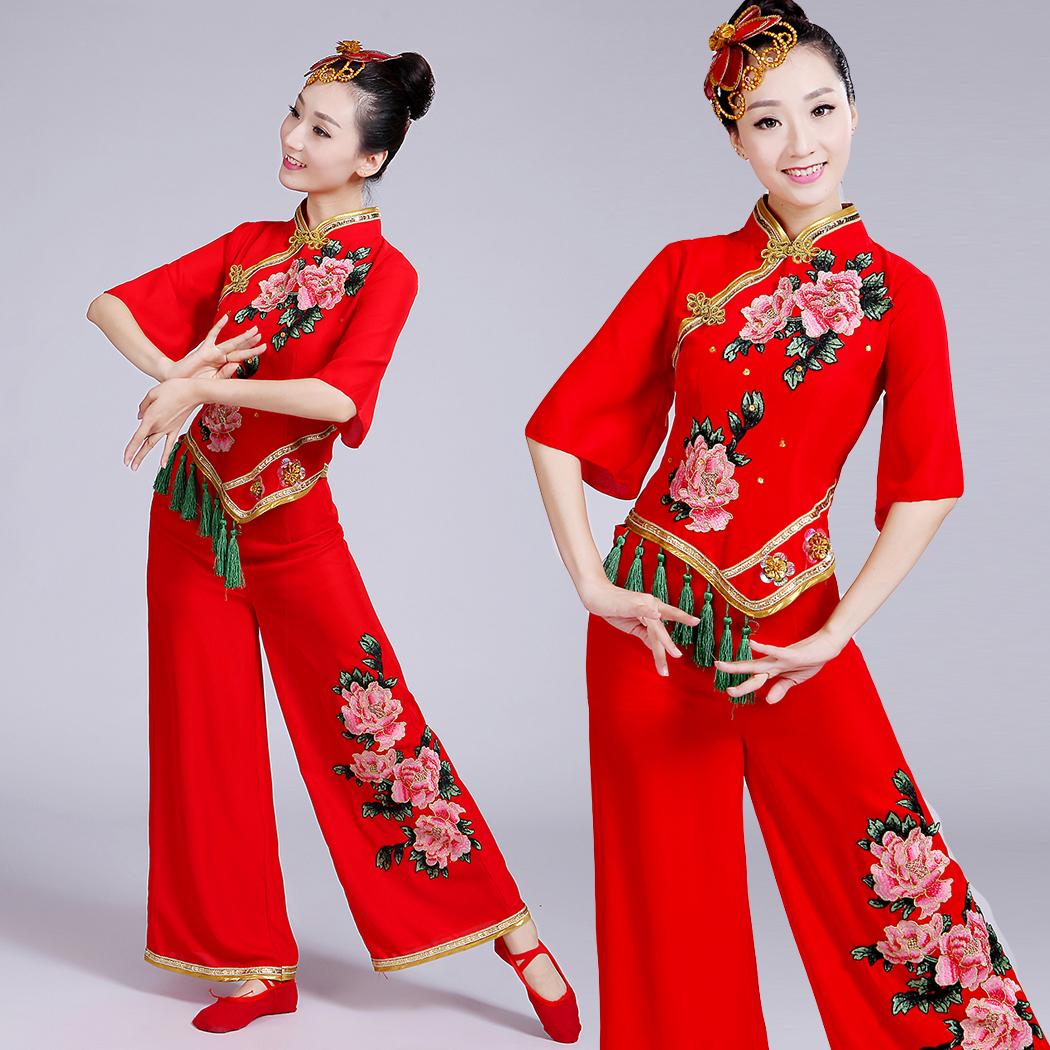 秧歌腰鼓扇子舞红色喜庆舞蹈演出服女民族舞台服装广场舞表演服装