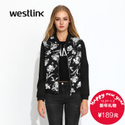 Westlink/West fall 2015 new leisure wave printing sleeves spliced long sleeve women's coat