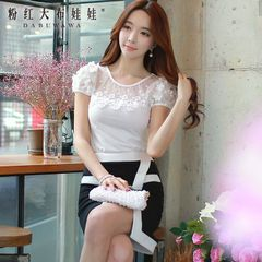 T shirt girls big pink doll 2015 summer dress new Korean spell lace short sleeves t shirt women