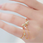 Email Korea 2015 new Korean sweet rhinestone bow chain double-ring ring ring joint woman