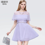 Linda 2015 spring fine bi woman perfume heralded in the new organza skirt flounces high waist lace dress