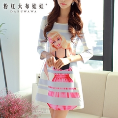 Print dress big pink doll 2015 autumn new style women's stripe slim long sleeve dresses skirts