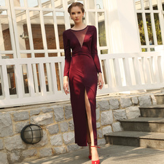 Europe and the new spring vintage wine-colored see-through gauze stitching slim sexy split skirt dresses 9347