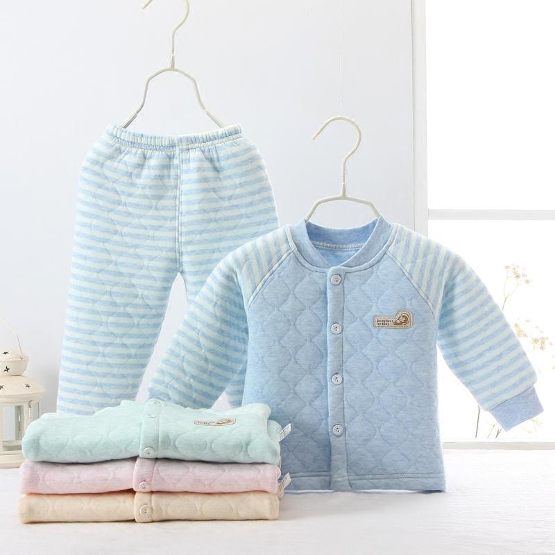 秋冬婴儿厚款保暖内衣纯棉新生儿衣服0对开2夹棉3套装1岁12个月6