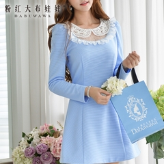 Long sleeve dress pink doll autumn spell dot Lady slim new aqua blue dress