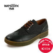 Westlink/West fall 2015 new tide Brock real cowhide cowboy stitching lace casual men shoes