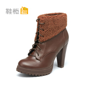 Shoebox fall/winter shoe coarse short tube with short boots women boots high heel platform boots Martin 1114505324