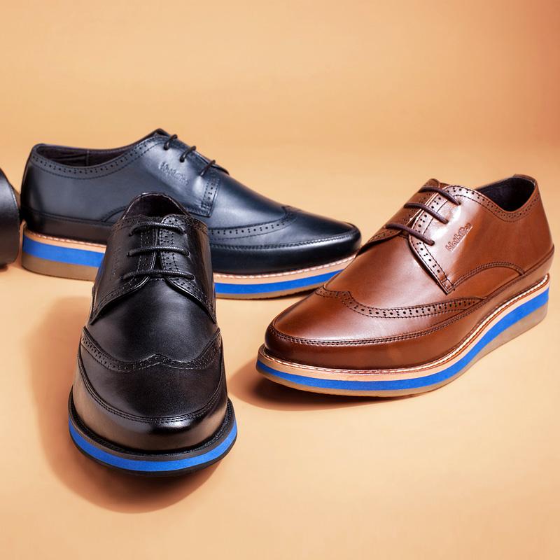 布莱希尔顿布洛克男鞋英伦风男士休闲鞋低帮系带雕花真皮休闲皮鞋