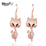 Korea fashion jewelry earring elegance around wallet Flash diamond Fox Pearl tassel earrings non-pierced girl