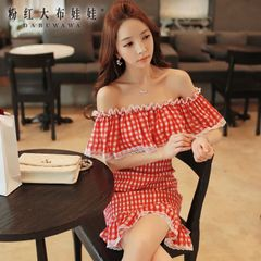 Horizontal neck dress big pink doll 2015 summer Plaid skirt Lady slim thin girl skirt