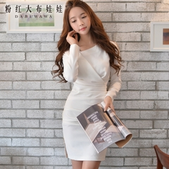 Autumn dress big pink doll 2015 women's slim hips not irregular temperament long sleeve dress