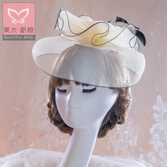 Meitai bride Hat European vintage feathered Hat headdress veil NET celebrity wedding dress accessories B0751