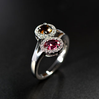 Thai luxury s925 silver ring beautifully inlaid double female tourmaline ring four solid rings