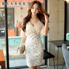 Dress girls big pink dolls 2015 summer styles dresses with v-neck fashion ladies slim bag hip dress