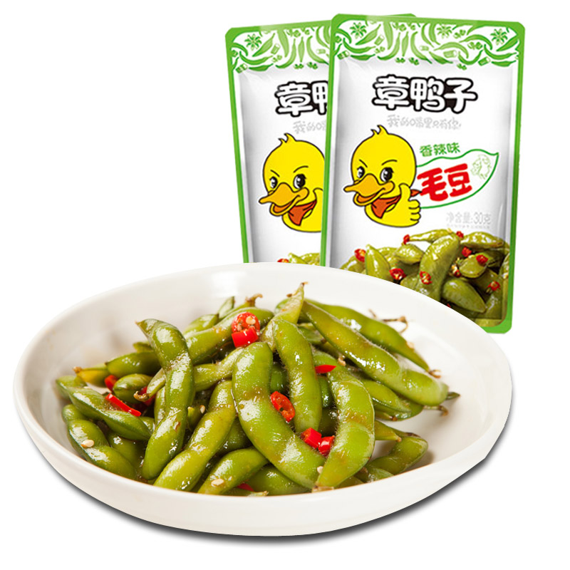 章鸭子毛豆香辣味酱板毛毛豆30g*5包 湖南常德特产麻辣零食小吃