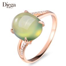 蒂嘉珠宝 4.3克拉天然葡萄石戒指 18k玫瑰金镶嵌钻彩色宝石彩宝