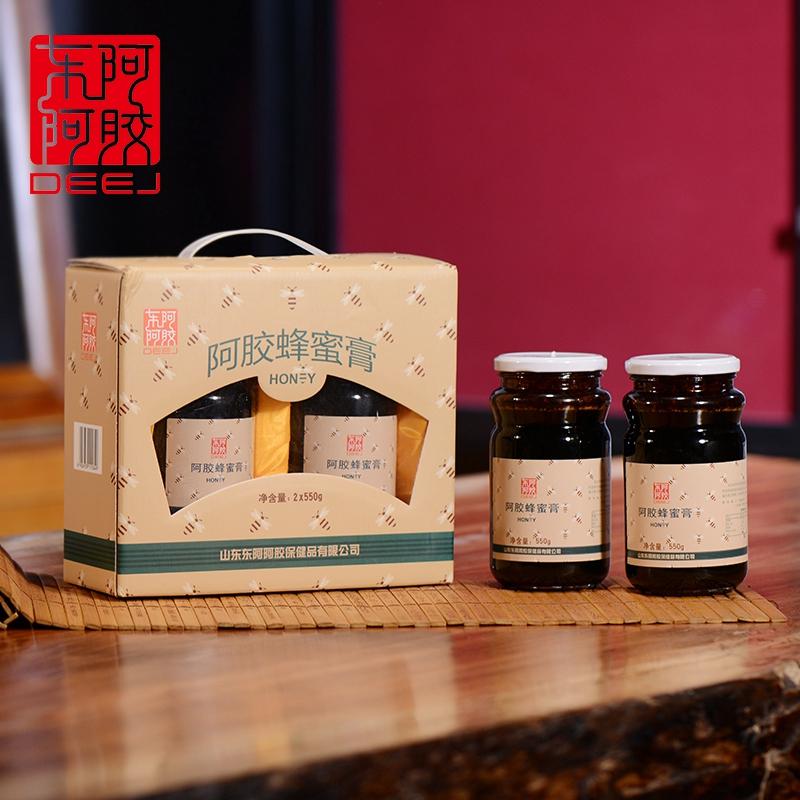 东阿阿胶旗舰店 阿胶蜂蜜膏550g*2礼盒装 荆条荆花蜜 蜂蜜制品