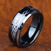 Wing flame gold rings black tungsten rings men''s jewelry in Europe and America domineering generous fashion jewelry rings tungsten