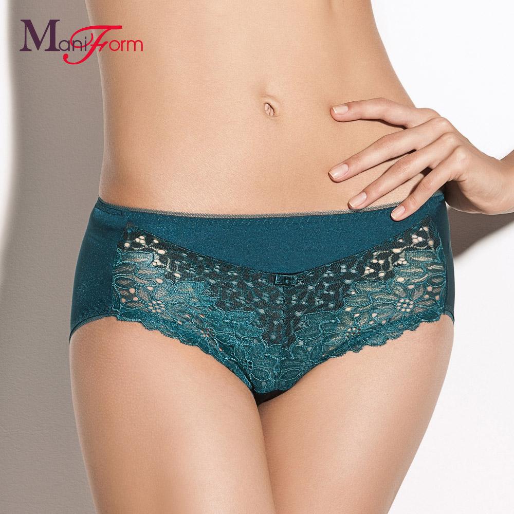 曼妮芬商场同款中腰平角裤 性感蕾丝边内裤 莫代尔舒适透气内衣