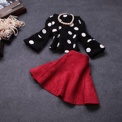 Autumn/winter 2014 new European fashion suit wool two-piece dress #