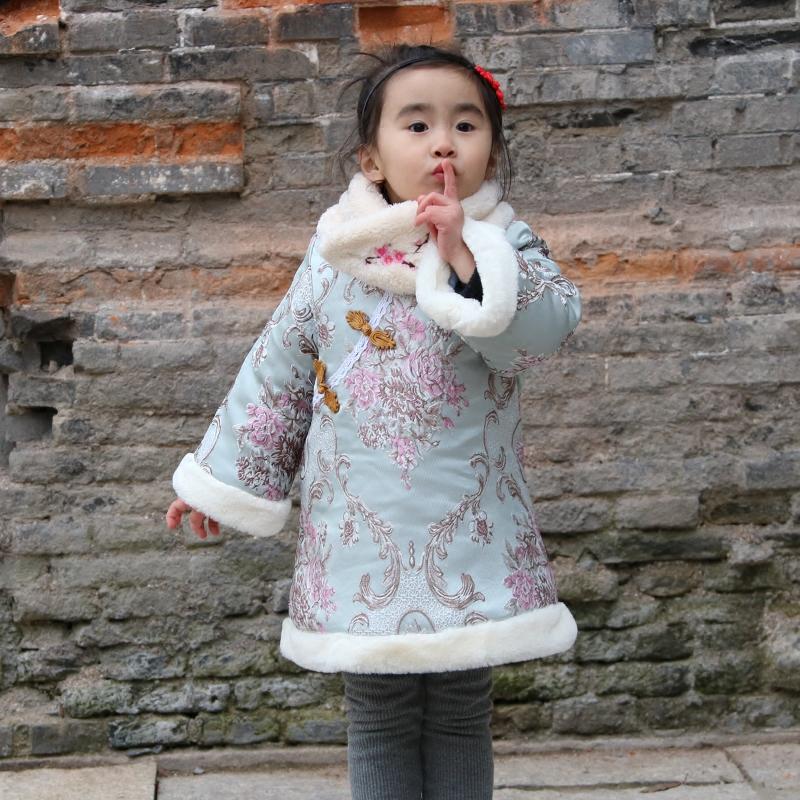 女童旗袍冬 2017冬季中国风女宝宝唐装新年装夹棉花朵外套连衣裙
