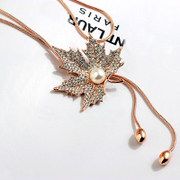 Joker heart you necklace with decorated fashion clothes decorations rhinestone Maple Leaf Chinese Restaurant Pearl long necklace women