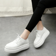 2016 spring new style platform shoes with thick deep circular head Harajuku Style shoes at the end of the Korean version of tide girls casual