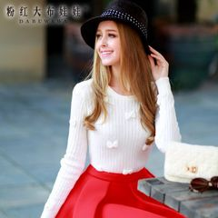 Pullover pink doll 2015 autumn new sweater women crewneck sweater at the end of a white sweater
