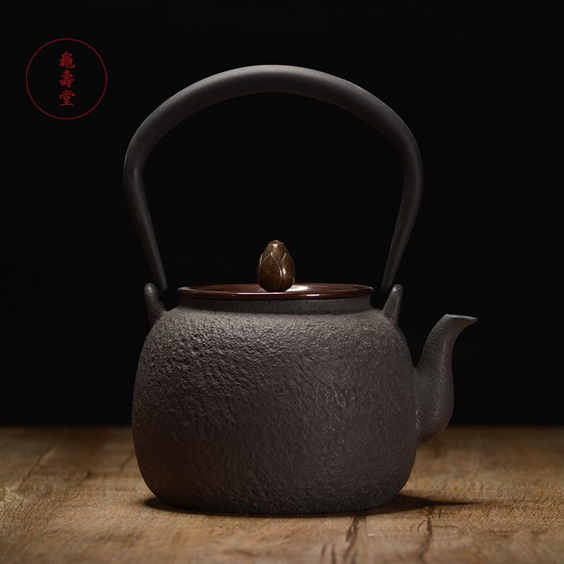 龟寿堂 宽口素纹铸铁壶 煮茶壶老铁壶 南部铁壶 日本代购泡茶壶