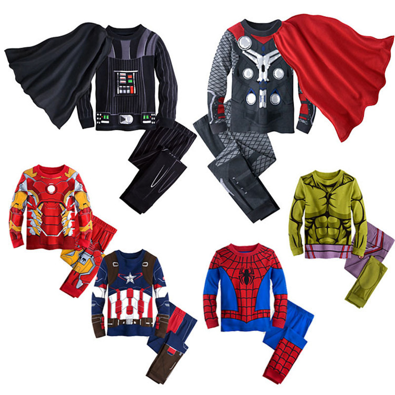 童装儿童家居装 秋季爆款蜘蛛侠 钢铁侠卡通复仇者造型家居服内衣