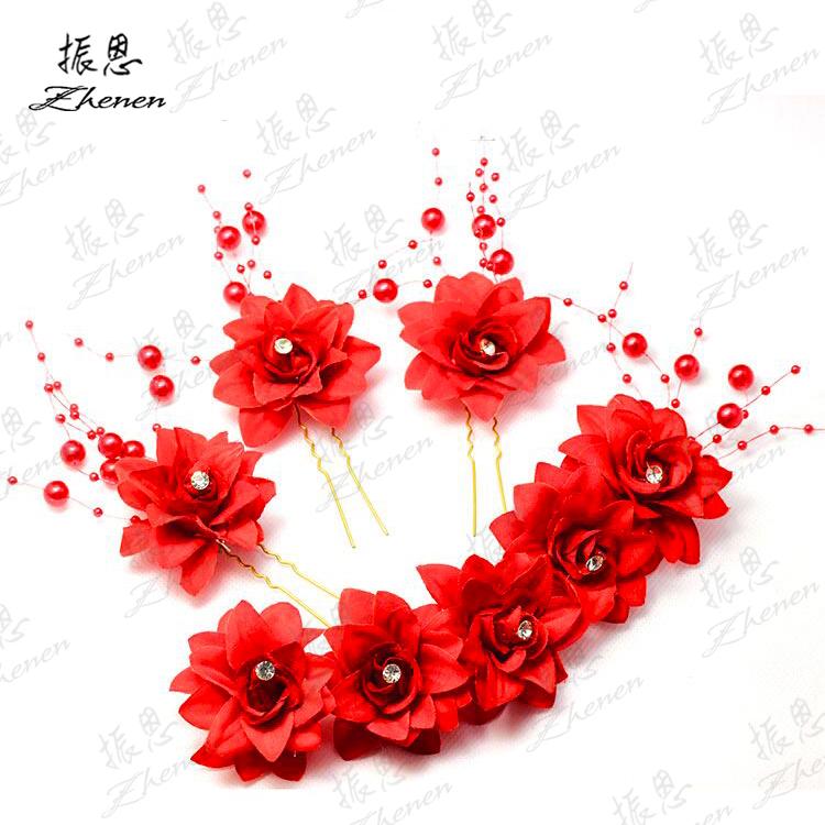 新娘红色结婚婚纱头饰头花饰品发饰头花盘发白色头饰礼服影楼中式