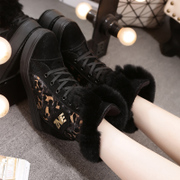 Hi canvas Martin boots women in sequined Leopard print tube invisible high women's boots in the autumn and winter plus velvet platform shoes wave