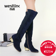 West winter new Western leather high heel metallic thick stitching elastic fabric with long boots women's boots
