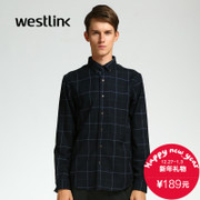 Westlink/West 2015 winter new City casual shirt Plaid men's shirt long sleeves round pendulum