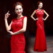 Toasting bride wedding dress suit 2015 new style fashion sexy bag hip dress red, long spring and summer diamond-studded