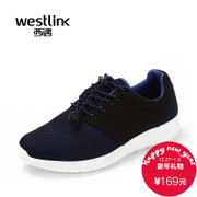 Westlink/West fall 2015 new wave mesh mosaic tie thick flat leisure sports of men's shoes