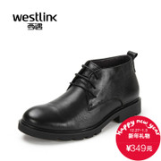Westlink/West 2015 winter new style of simple daily round warm velvet lace short boots men's boots
