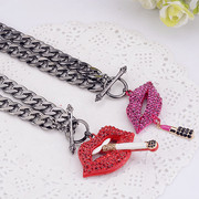Email red lips lips full rhinestone necklace women exaggerated accessories Korea jewelry cocktail collar bone chain