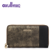 Exull q2015 new autumn snakeskin bronze cross zipper wallet clutch bag handbag bag 15335214