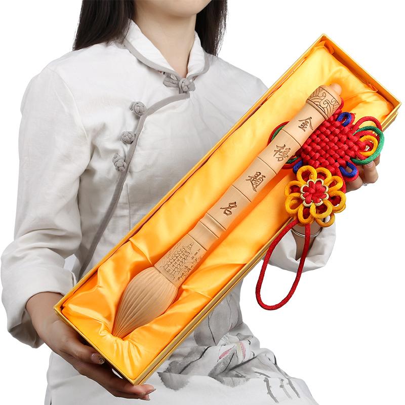 鼎风阁 桃木文昌笔挂件增文益智助学习事业有七彩宝石