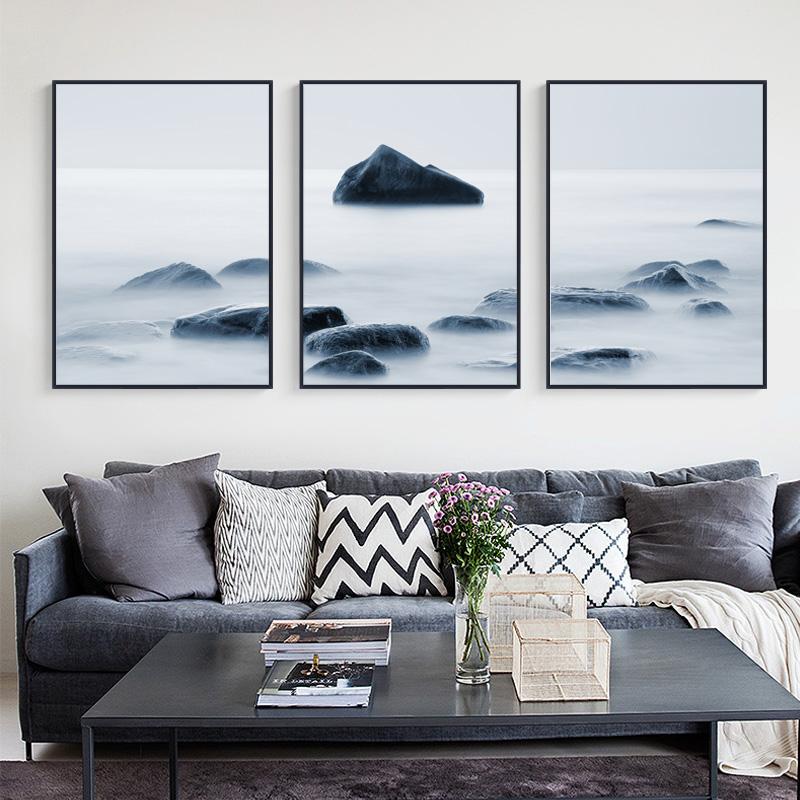 石来运转客厅装饰画黑白沙发背景三联画北欧墙壁现代简约招财墙画