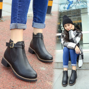 British air thick with short boot women's winter boots flat boots Martin tide women short drum students female and nude in boots boots