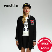 Westlink/West in 2015 long baseball uniform jacket in winter new style women's lipstick patterned woolen cloth coat